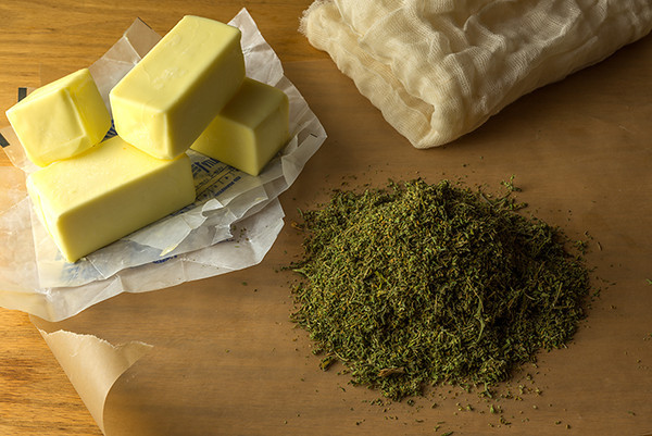 Here are seven easy steps for a great cannabutter - from the boiling of the butter/marijuana mixture to the straining and the cooling. Courtesy Bruce Wolf