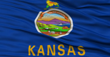 Closeup Kansas Flag, USA state